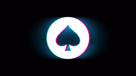 baraja : Playing Card Suit Spade Symbol en Glitch Led Screen Retro Vintage Display Animación 4K Animación Seamless Loop Alpha Channel.