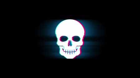 入れ墨 : Face skull Symbol on Glitch Led Screen Retro Vintage Display Animation 4K Animation Seamless Loop Alpha Channel. 動画素材