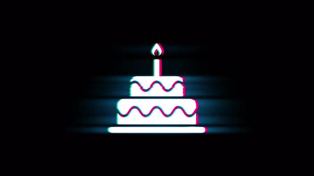 慶典 : Birthday Cake Symbol on Glitch Led Screen Retro Vintage Display Animation 4K Animation Seamless Loop Alpha Channel.
