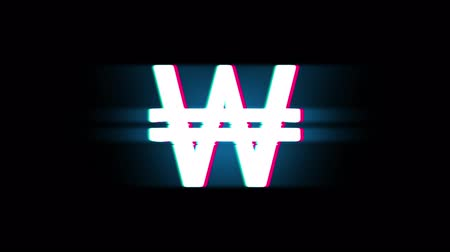won : South Korean Won Currency Symbol on Glitch Led Screen Retro Vintage Display Animation 4K Animation Seamless Loop Alpha Channel.