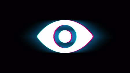 брови : Human Face eye view Symbol on Glitch Led Screen Retro Vintage Display Animation 4K Animation Seamless Loop Alpha Channel.
