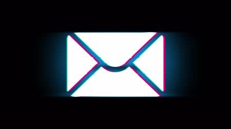 levelezési : Mail Massage Symbol on Glitch Led Screen Retro Vintage Display Animation 4K Animation Seamless Loop Alpha Channel.