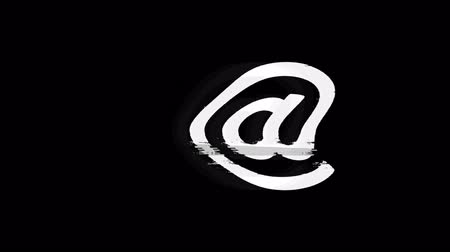 skrzynka pocztowa : E mail, Email, Email, Inbox, Mail, Message Icon Old Vintage Twitched Bad Signal Screen Effect 4K Animation. Twitch, Noise, Glitch Loop with Alpha Channel. Wideo