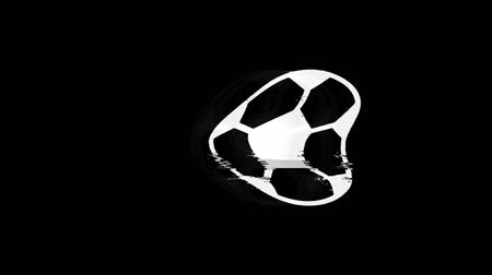 pentagone : Ballon de football Icône de football Old Vintage Twitched Bad Signal Screen Effect 4K Animation. Twitch, Noise, Glitch Loop avec canal Alpha. Vidéos Libres De Droits