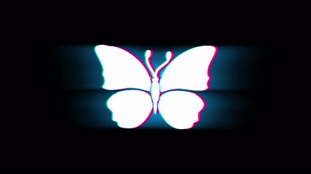 katicabogár : Butterfly And Bee Symbol on Glitch Led Screen Retro Vintage Display Animation 4K Animation Seamless Loop Alpha Channel.