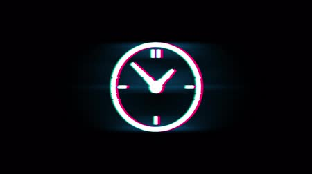 хронометр : Clock Watch Symbol on Glitch Led Screen Retro Vintage Display Animation 4K Animation Seamless Loop Alpha Channel.