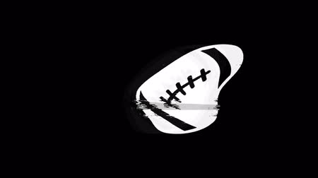 sprintel : American Football Icon Old Vintage Twitched Bad Signal Screen Effect 4K Animation. Twitch, Noise, Glitch Loop with Alpha Channel. Stock mozgókép