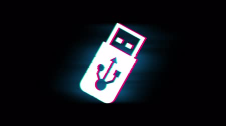 removable : USB Flash Drive Symbol on Glitch Led Screen Retro Vintage Display Animation 4K Animation Seamless Loop Alpha Channel. Stock Footage