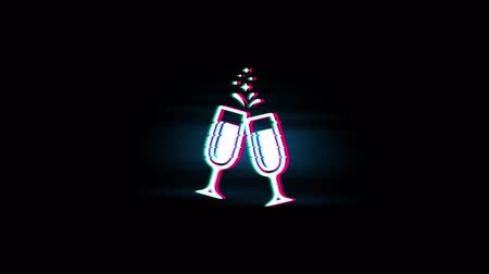 şerefe : Cheers Celebration Toast Two Glasses Champagne Symbol on Glitch Led Screen Retro Vintage Display Animation 4K Animation Seamless Loop Alpha Channel.