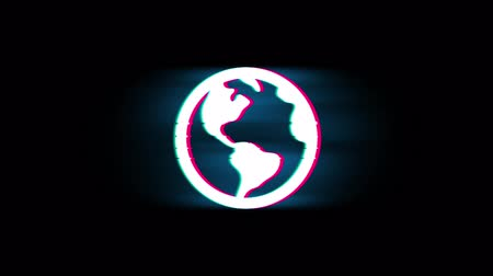 kurzor : Globe, online, world, Map Earth Symbol on Glitch Led Screen Retro Vintage Display Animation 4K Animation Seamless Loop Alpha Channel.