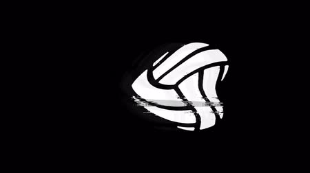 volleyball : Play Volleyball Game Ball Icon Old Vintage Twitched Bad Signal Screen Effect 4K Animation. Twitch, Noise, Glitch Loop with Alpha Channel.