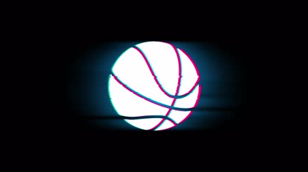 recreativo : Símbolo de pelota de baloncesto en Glitch Pantalla LED Retro Vintage Display Animación 4K Animación Seamless Loop Alpha Channel.