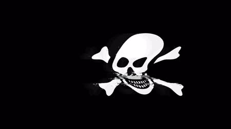 crânio : Skull And Crossbones Icon Old Vintage Twitched Bad Signal Screen Effect 4K Animation. Twitch, Noise, Glitch Loop with Alpha Channel.
