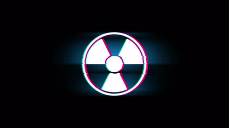 radyoaktif : Radiation Nuclear Caution Symbol on Glitch Led Screen Retro Vintage Display Animation 4K Animation Seamless Loop Alpha Channel.