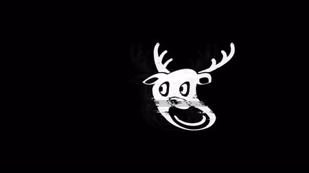 sob : Christmas Reindeer Xmas Deer Icon Old Vintage Twitched Bad Signal Screen Effect 4K Animation. Twitch, Noise, Glitch Loop with Alpha Channel.