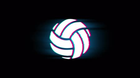 volleyball : Play Volleyball Game Ball Symbol on Glitch Led Screen Retro Vintage Display Animation 4K Animation Seamless Loop Alpha Channel. Stock Footage
