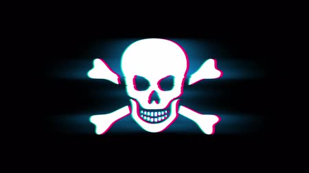piracy : Skull And Crossbones Symbol on Glitch Led Screen Retro Vintage Display Animation 4K Animation Seamless Loop Alpha Channel.
