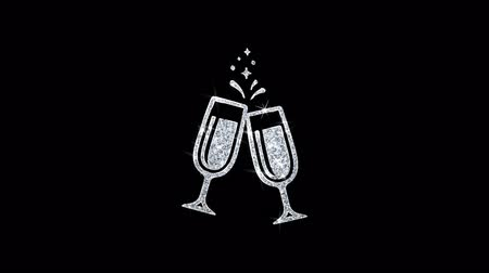emoties : Proost Toast Twee glazen ChampagneIcon Sprankelend glanzend wit Knipperende deeltjes Diamond Glitter Loop Light 4K Animation Alpha Channel. Stockvideo