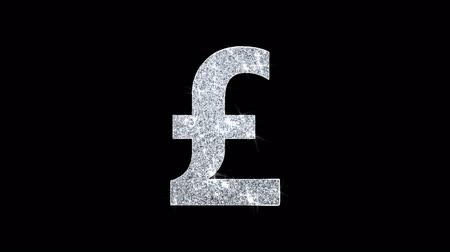 esterlino : Pound Sterling Currency Icon Sparkling Shining White Blinking Particles Diamond Glitter Loop Light 4K Animation Alpha Channel.