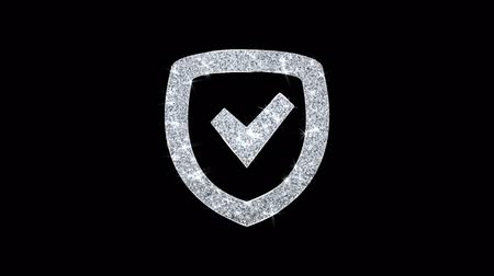 heraldicas : Security Shield Icon Sparkling Shining White Parpadeo de partículas Diamond Glitter Loop Light 4K Animación Alpha Channel.