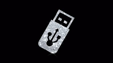 dosya : USB Flash Drive Icon Sparkling Shining White Blinking Particles Diamond Glitter Loop Light 4K Animation Alpha Channel. Stok Video