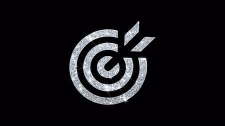 dart : Target Emblem Pictogram Icon Sparkling Shining White Blinking Particles Diamond Glitter Loop Light 4K Animation Alpha Channel.