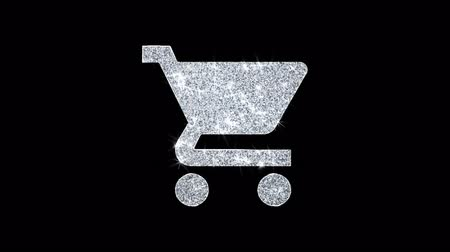 pictograma : Buy Shopping Cart Trolley Icon Sparkling Shining White Blinking Particles Diamond Glitter Loop Light 4K Animation Alpha Channel. Stock Footage