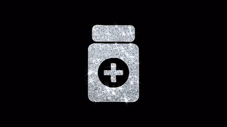 karetka : Medicine Health Care Icon Sparkling Shining White Blinking Particles Diamond Glitter Loop Light 4K Animation Alpha Channel.