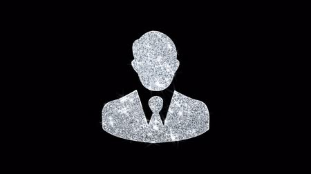 trabalhador de escritório : Businessman Job Manager Head Icon Sparkling Shining White Blinking Particles Diamond Glitter Loop Light 4K Animation Alpha Channel. Stock Footage