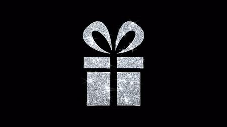 kerstpakket : Rood lint Geschenkdoos Aanwezig pictogram Sprankelend glanzend Wit Knipperende deeltjes Diamond Glitter Loop Light 4K Animatie Alpha Channel.