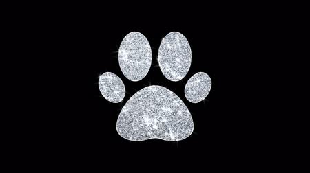 tlapky : Paw Icon Icon Sparkling Shining White Blinking Particles Diamond Glitter Loop Light 4K Animation Alpha Channel.