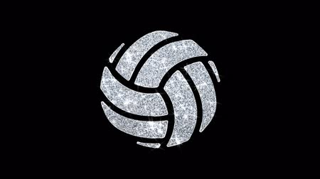 volleyball : Play Volleyball Game Ball Icon Sparkling Shining White Blinking Particles Diamond Glitter Loop Light 4K Animation Alpha Channel. Stock Footage