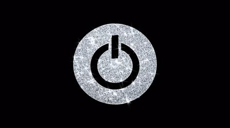 pictograma : Computer Power Start Button Icon Sparkling Shining White Blinking Particles Diamond Glitter Loop Light 4K Animation Alpha Channel. Stock Footage