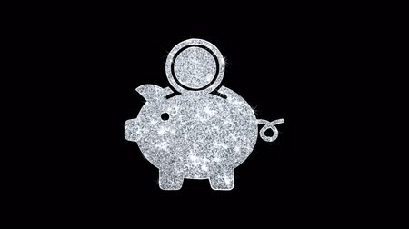 lineal : Piggy Bank Save Money Icon Sparkling Shining White Parpadeo de partículas Diamond Glitter Loop Light 4K Animación Alpha Channel.