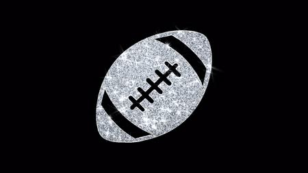 rúgbi : American Football Icon Sparkling Shining White Blinking Particles Diamond Glitter Loop Light 4K Animation Alpha Channel.