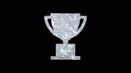 tasses : Trophy Win Cup Icon Sparkling Shining White Clignotant Particules Diamond Glitter Loop Light 4K Animation Alpha Channel.