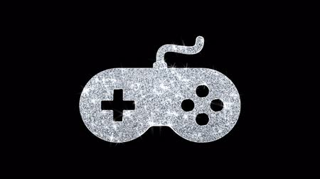 video juego : Game Controller joystick epad Icono del juego Sparkling Shining White Parpadeo de partículas Diamond Glitter Loop Light 4K Animación Alpha Channel.