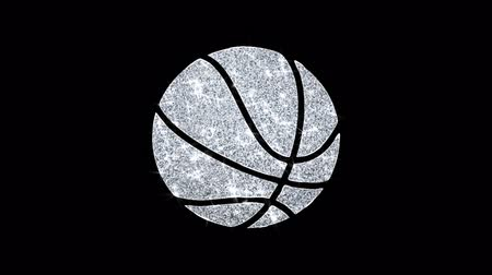 volleyball : Basketball Ball Icon Sparkling Shining White Blinking Particles Diamond Glitter Loop Light 4K Animation Alpha Channel. Stock Footage