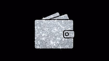pasaport : Wallet Purse Card Holder Icon Sparkling Shining White Blinking Particles Diamond Glitter Loop Light 4K Animation Alpha Channel.