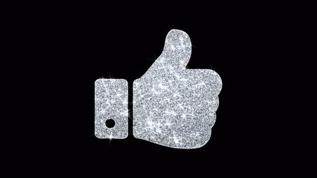 megerősítik : Thumbs Up Hand Icon Sparkling Shining White Blinking Particles Diamond Glitter Loop Light 4K Animation Alpha Channel.