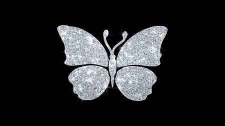 libélula : Butterfly And Bee Icon Sparkling Shining White Blinking Particles Diamond Glitter Loop Light 4K Animation Alpha Channel.
