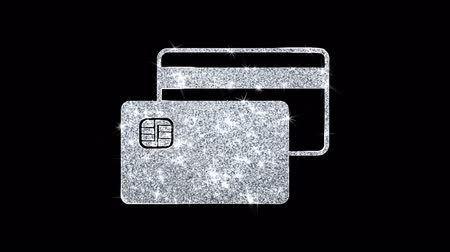 bankomat : Credit Card Icon Sparkling Shining White Blinking Particles Diamond Glitter Loop Light 4K Animation Alpha Channel.