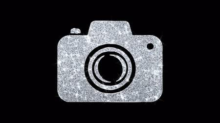 impressão digital : Camera Photography Icon Sparkling Shining White Blinking Particles Diamond Glitter Loop Light 4K Animation Alpha Channel.