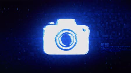 compacto : Camera Photography Symbol Abstract Digital Pixel Noise Glitch Error Video Damage Signal Loop 4K Animation.