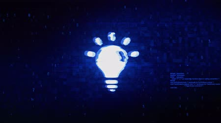 lampa : Bulb Light Symbol Abstract Digital Pixel Noise Glitch Error Video Damage Signal Loop 4K Animation.