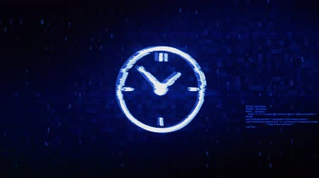 stoper : Clock Watch Symbol Abstract Digital Pixel Noise Glitch Error Video Damage Signal Loop 4K Animation.