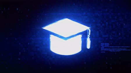 master's degree : Education, Graduation cap, University hat Symbol Abstract Digital Pixel Noise Glitch Error Video Damage Signal Loop 4K Animation. Stock Footage
