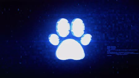 tlapky : Paw Icon Symbol Abstract Digital Pixel Noise Glitch Error Video Damage Signal Loop 4K Animation.