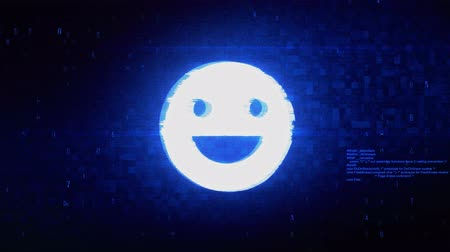 smilies : Big Smile Emoji Symbol Abstract Digital Pixel Noise Glitch Error Video Damage Signal Loop 4K Animation. Stock Footage