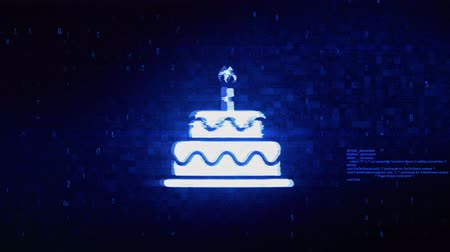 tatlı çörek : Birthday Cake Symbol Abstract Digital Pixel Noise Glitch Error Video Damage Signal Loop 4K Animation.
